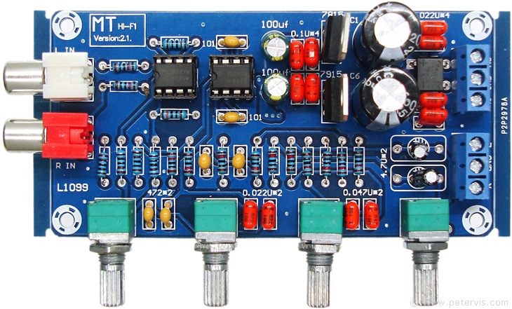 NE5532 Bass and Treble Preamplifier Circuit Board